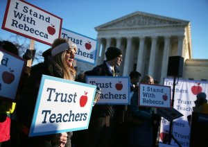 Teacher Protests outside the Supreme Court during oral arguments of the California Teacher's Union case.